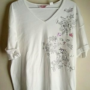 Sequined & Embroidered woman's Cat Shirt